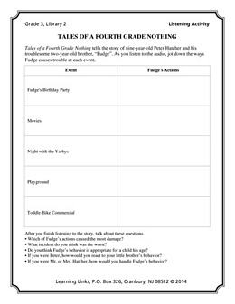 Tales of a Fourth Grade Nothing (Listening Activity) LA1067